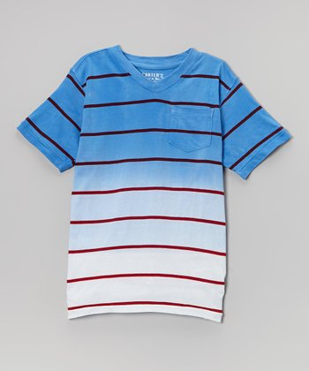 Blue & White Stripe Ombré Tee - Boys