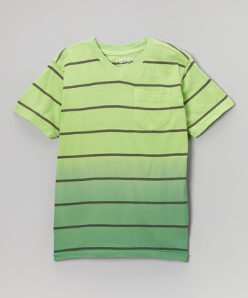 Green Stripe Ombré Tee - Boys