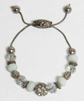 White Crystal Bead Drawstring Bracelet