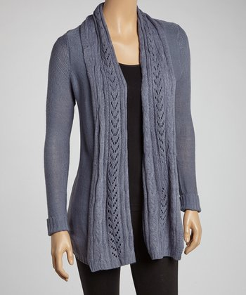 Gray Pointelle Open Cardigan