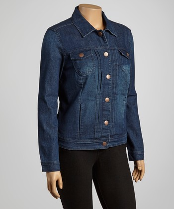 Medium Dark Blue Crinkle Trucker Jacket - Plus
