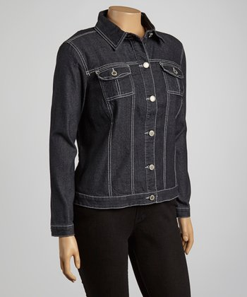 Black Button Denim Jacket - Plus
