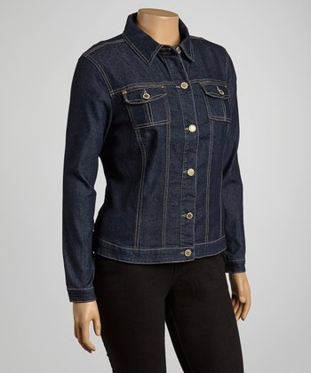 Dark Blue Button Denim Jacket - Plus