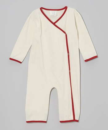 Red & Cream Wrap Top Organic Playsuit - Infant & Toddler