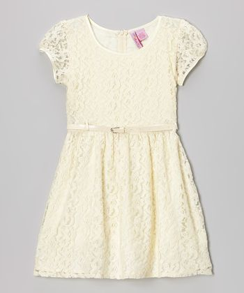 Ivory Lace Belted Cap-Sleeve Dress - Girls
