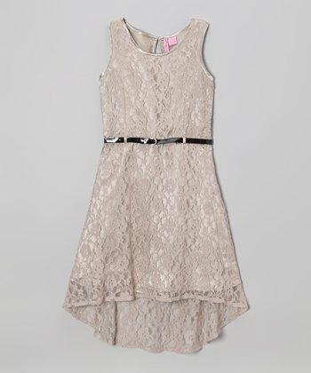 Silver Lace Belted Hi-Low Dress - Girls