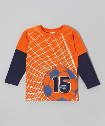 Orange & Blue Soccer Ball Layered Tee - Toddler & Boys