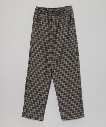 Navy Plaid Flannel Pants - Boys