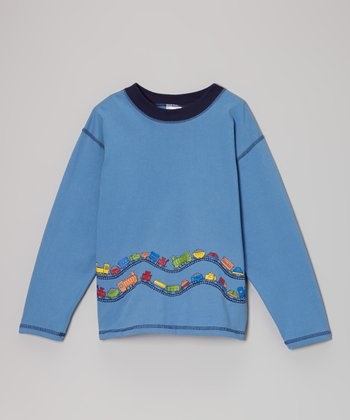 Captain Blue Two-Way Train Long-Sleeve Tee - Infant & Boys