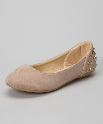Anna Shoes Taupe Studded Vera Flat