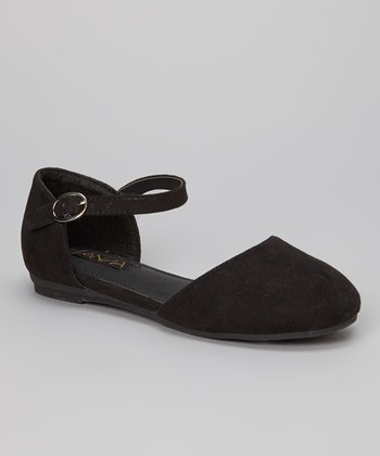 Anna Shoes Black Buckle Vera Flat