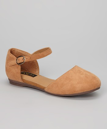 Anna Shoes Tan Buckle Vera Flat