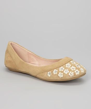 Anna Shoes Tan Blossom Mina Flat