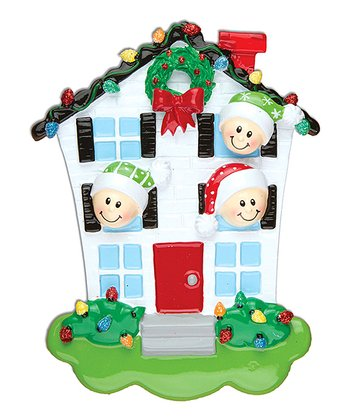Three-Person House Christmas Ornament