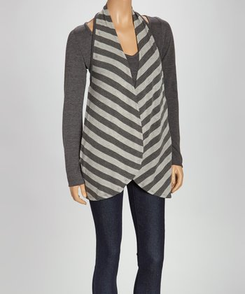 Gray & White Stripe Layered Top