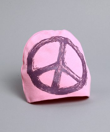 Pink Hat with Purple Peace Sign - Infant & Toddler