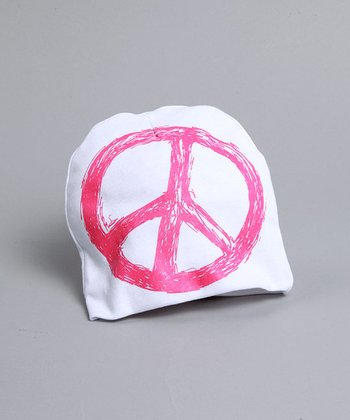 pinkaxle - White Hat with Pink Peace Sign