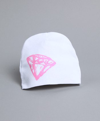 White Hat with Pink Diamond- Infant & Toddler