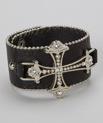 Silver & Black Ornate Cross Bracelet