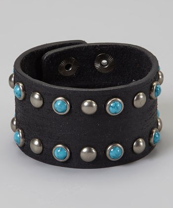 Turquoise Studded Wide Black Leather Bracelet
