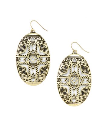 Gold Brass Cutout Oval Earrings