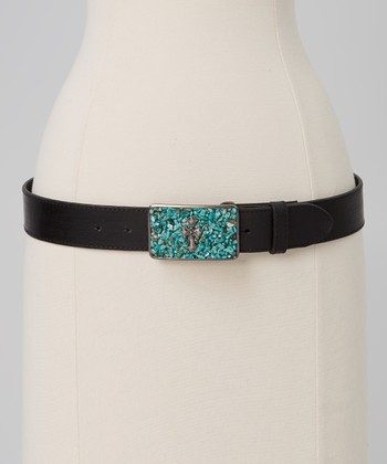 Black & Turquoise Cross Belt