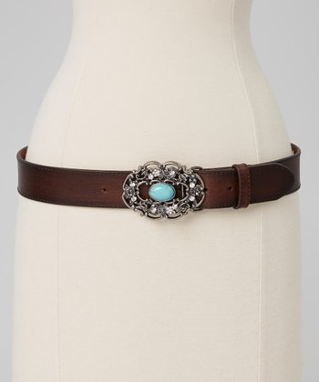 Brown & Turquoise Filigree Belt