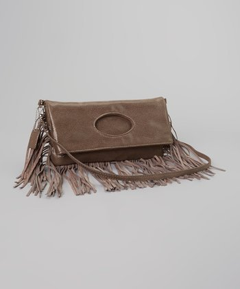 Gray Fringe Clutch