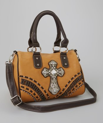 Brown Rhinestone Cross Satchel