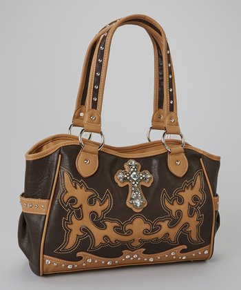 Coffee Brown Rhinestone Cross Tote