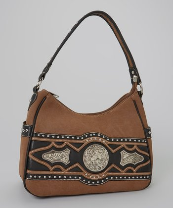 Coffee Brown & Black Rhinestone Hobo