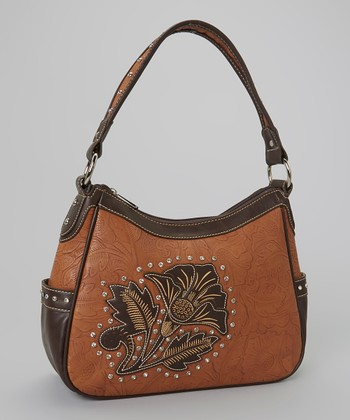 Brown Rhinestone Flower Shoulder Bag