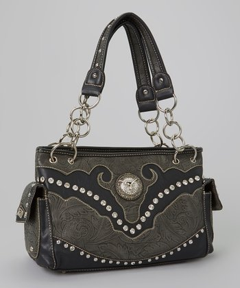 Black Rhinestone Steer Satchel