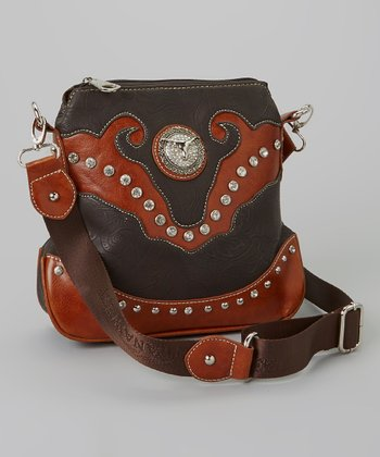Coffee Brown & Black Rhinestone Steer Crossbody Bag