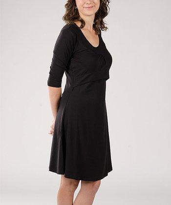 Momzelle Black Jolie Nursing Scoop Neck Dress