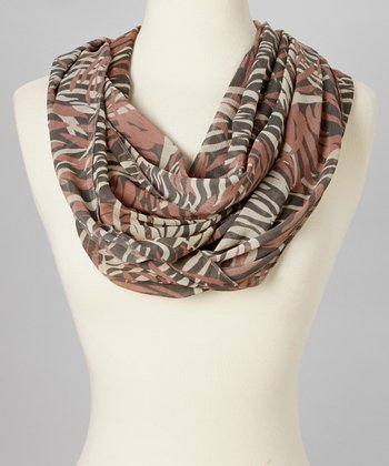 Brown & Black Tiger Infinity Scarf