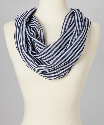 Black & White Stripe Infinity Scarf