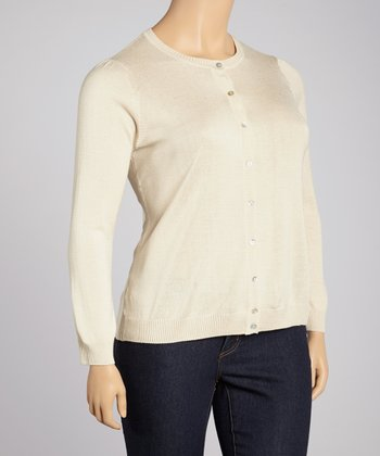 Beige Silk-Blend Cardigan - Plus