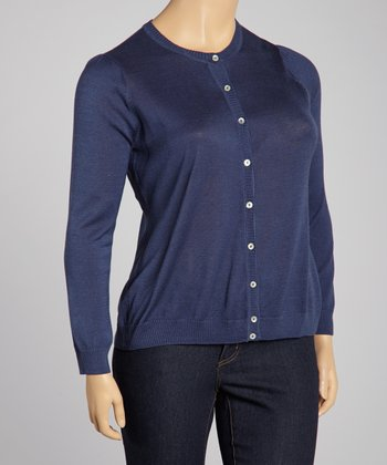 Navy Silk-Blend Cardigan - Plus