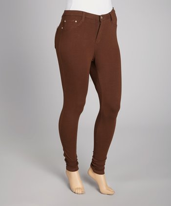 Brown Frenchterry Moleton Jeggings - Plus