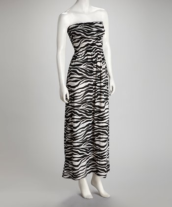 Black & White Zebra Strapless Maxi Dress