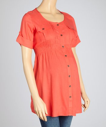 Oh! Mamma Poppy Red Pocket Maternity Button-Up Tunic