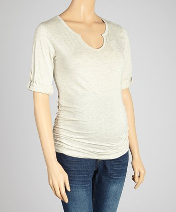Oh! Mamma Oat Ruched Maternity V-Neck Top