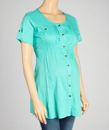 Oh! Mamma Blue-Green Maternity Button-Up Tunic - Women