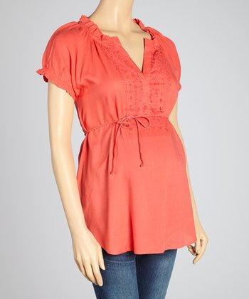 Oh! Mamma Cayenne Embroidered Tie-Waist Maternity Peasant Top