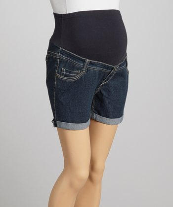 Oh! Mamma Indigo Rinse Wash Over-Belly Maternity Denim Shorts - Women
