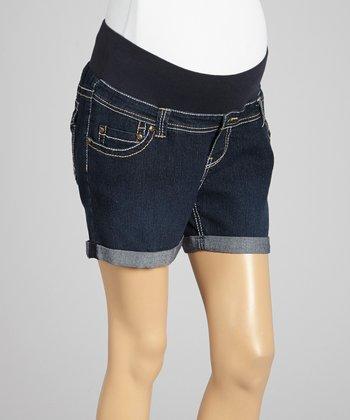 Oh! Mamma Indigo Dark Wash Under-Belly Maternity Denim Shorts - Women