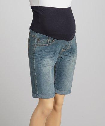 Oh! Mamma Light Denim Over-Belly Maternity Bermuda Shorts - Women