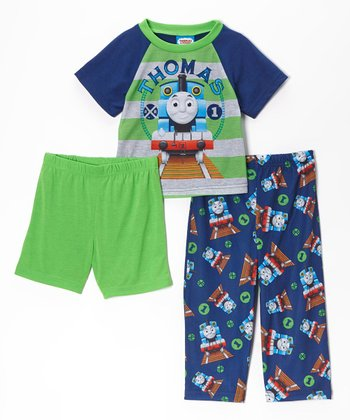 Blue & Green 'Thomas' Pajama Set - Toddler