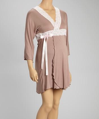 Belabumbum Cocoa & Pink Lace-Trim Lotus Robe